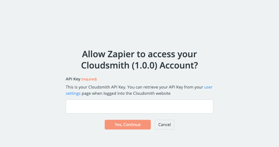 Zapier Cloudsmith API Authorization