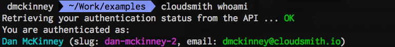 Cloudsmith whoami command