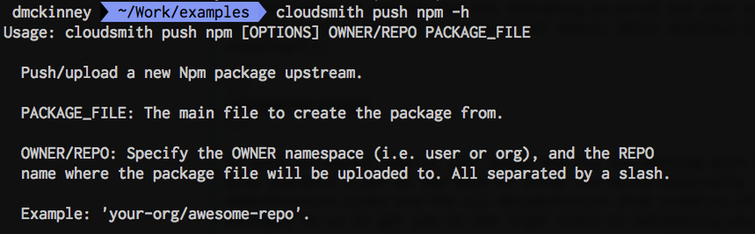 cloudsmith push npm -h